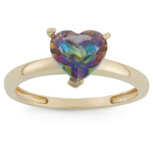 1 3/4 Tcw Tiara Heart-cut Mystic Blue Topaz Ring in 10k Yellow Gold - (5), Women