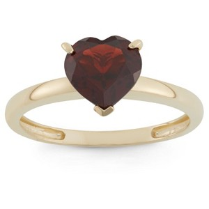 1 3/4 Tcw Tiara Heart-cut Garnet Ring in 10k Yellow Gold - (5), Women