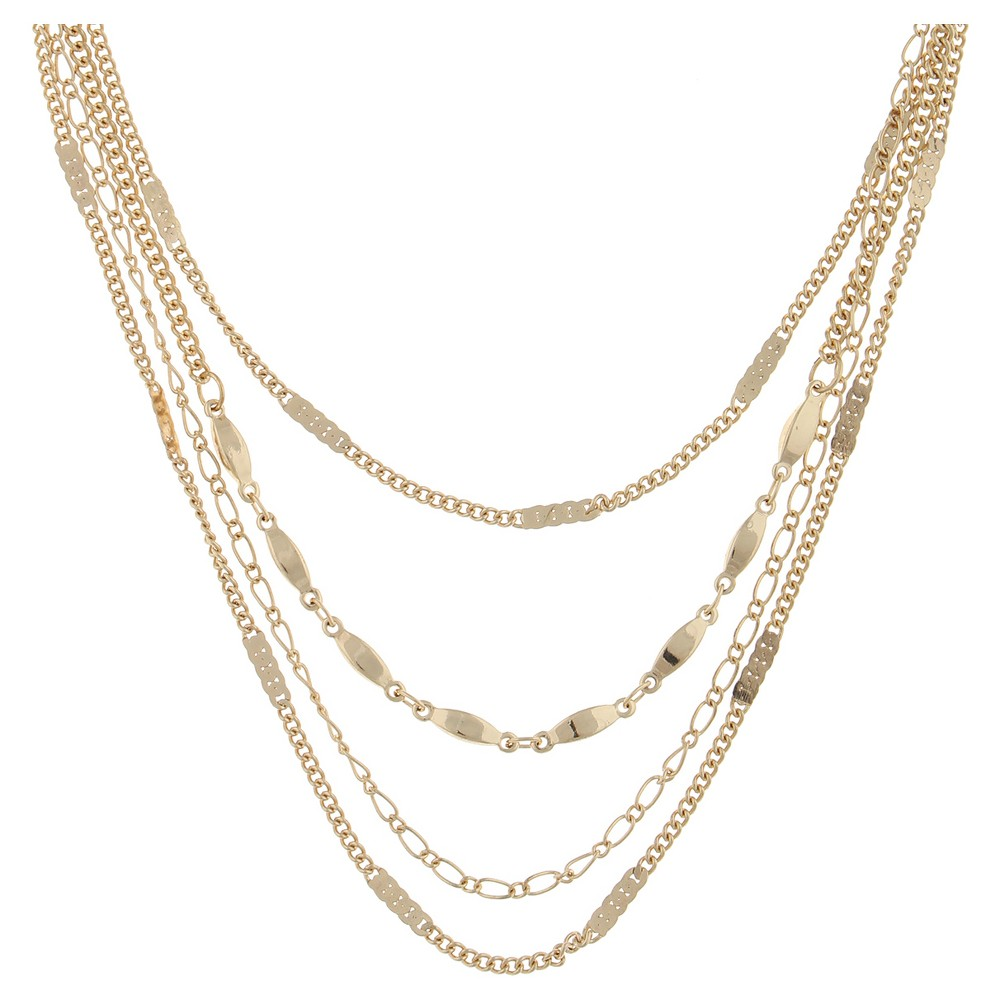 Womens Necklace Layered Choker with Special Chain- Gold