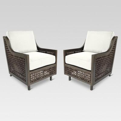 Fabron 2pk Wicker Motion Patio Club Chair - Linen - Threshold™
