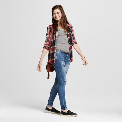 Women's Roll Cuff Destructed Skinny Jeans Indigo Blue 5 - Vanilla Star (Juniors')