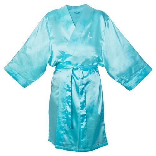 Monogram Bridesmaid SM Satin Robe - L, Women's, Size: SM - L, Blue