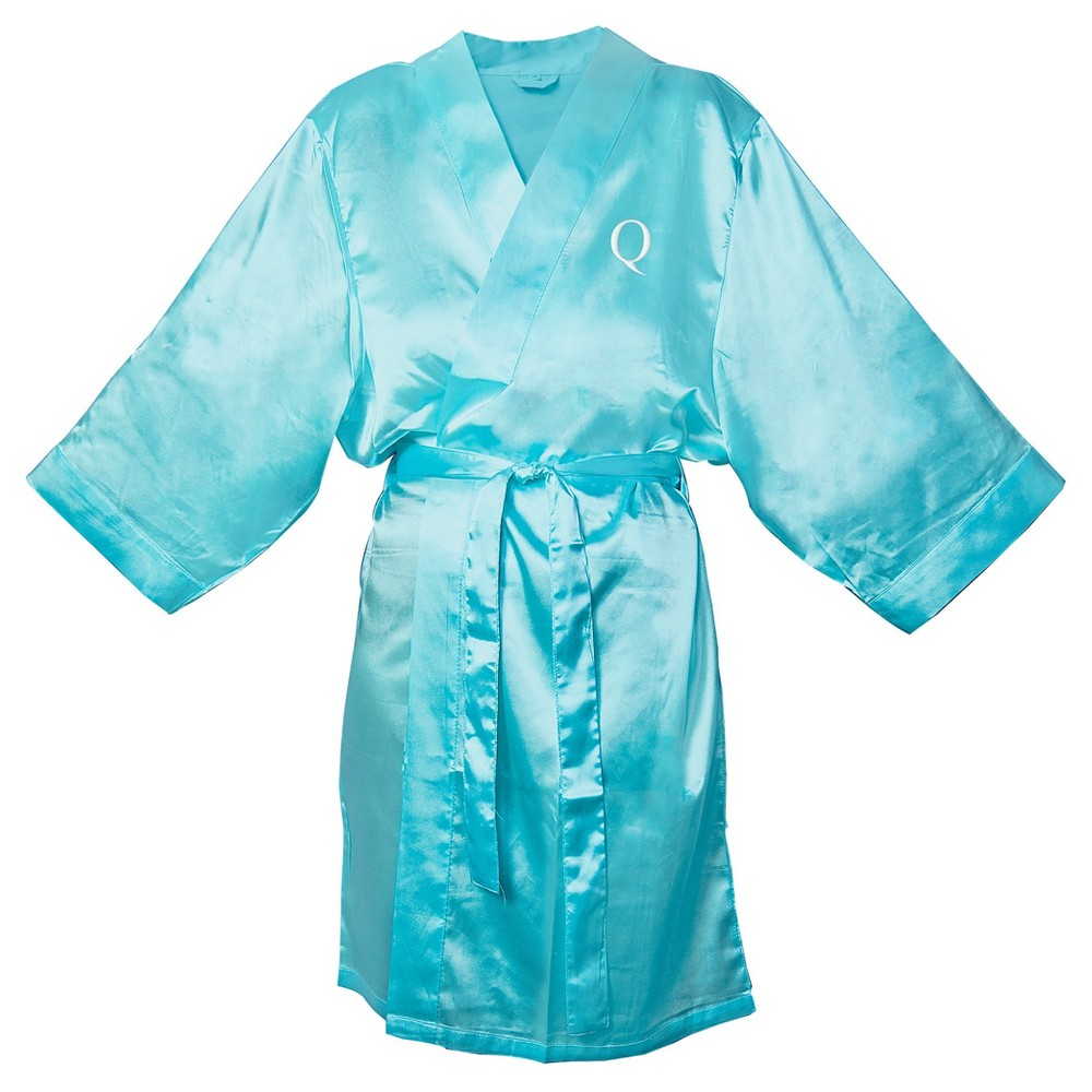 Monogram Bridesmaid SM Satin Robe - Q, Women's, Size: SM - Q, Blue