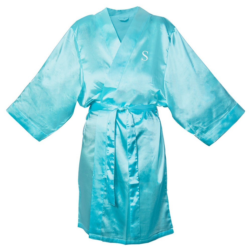 Monogram Bridesmaid SM Satin Robe - S, Womens, Size: SM - S, Blue
