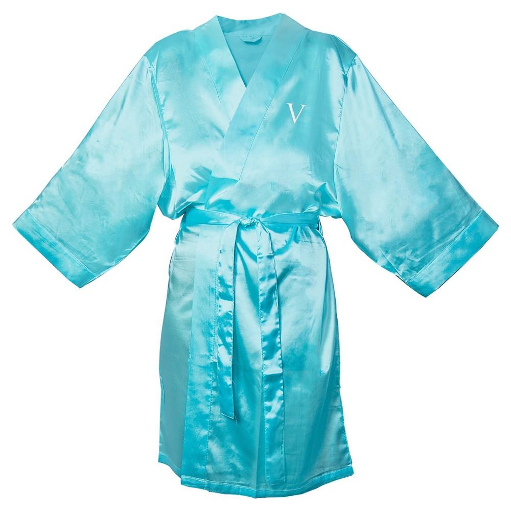 Monogram Bridesmaid SM Satin Robe - V, Womens, Size: SM - V, Blue