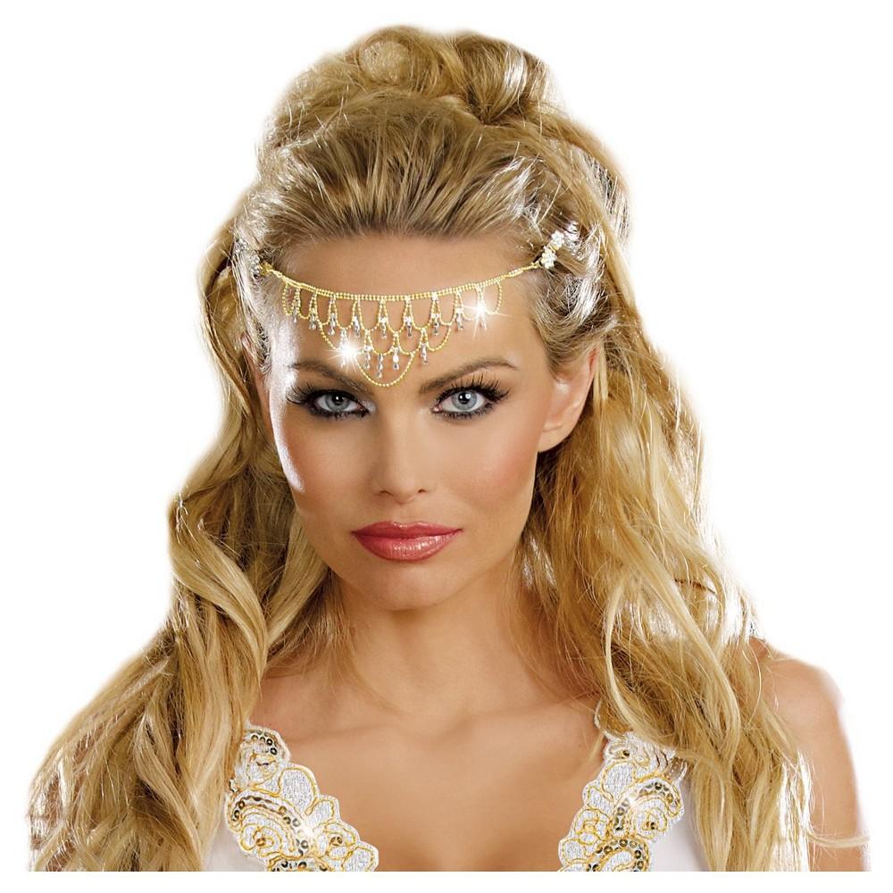 Halloween Glittering Rhinestone Headpiece, Womens, Gold