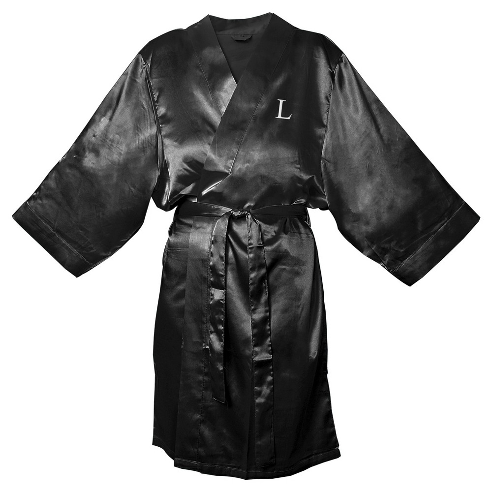 Monogram Bridesmaid L/XL Satin Robe - L, Womens, Size: Lxl-L, Black