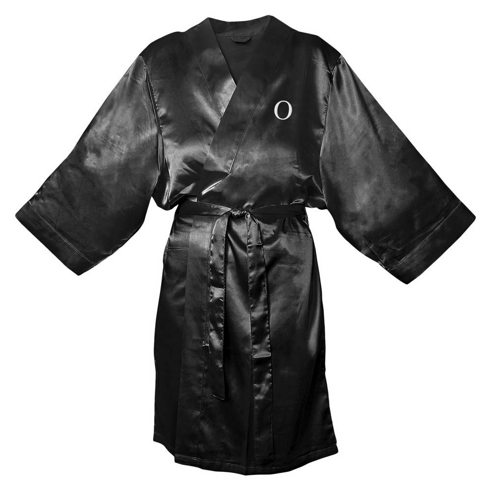 Monogram Bridesmaid SM Satin Robe - O, Womens, Size: SM - O, Black