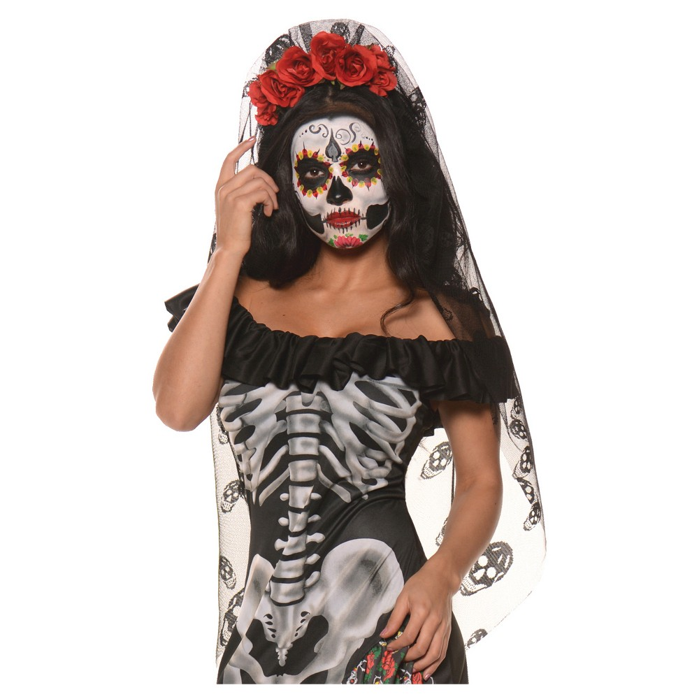 Womens Day Of The Dead Mantilla Costume - One Size Fits Most, Multi-Colored
