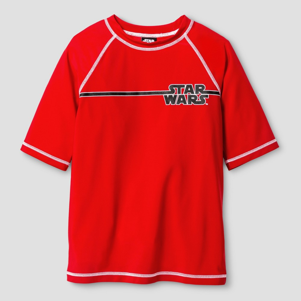 Star Wars Boys Swim Rash Guards Red - XS