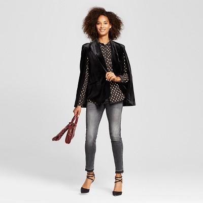 Women's Button Up Blouse Black Polka Dot M - Who What Wear