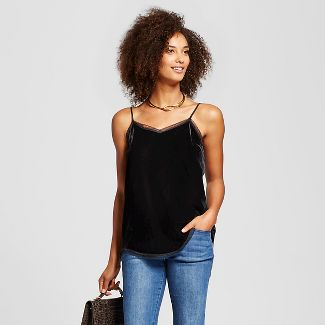 Who What Wear Top L Sleeveless Soft Velour Tank w/ Lace Trim Black New