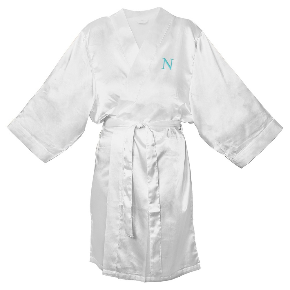 Monogram Bridesmaid L/XL Satin Robe - N, Womens, Size: Lxl - N, White
