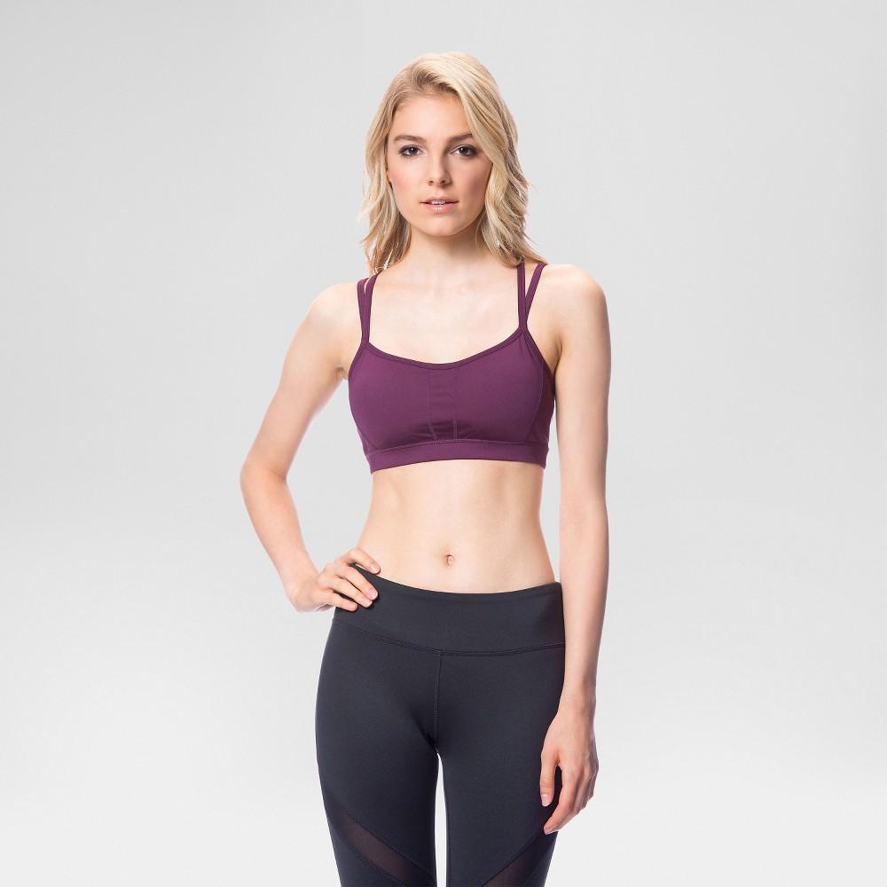 Women's Strappy Back Sports Bra Merlot M - Velvet Rose, Wineberry