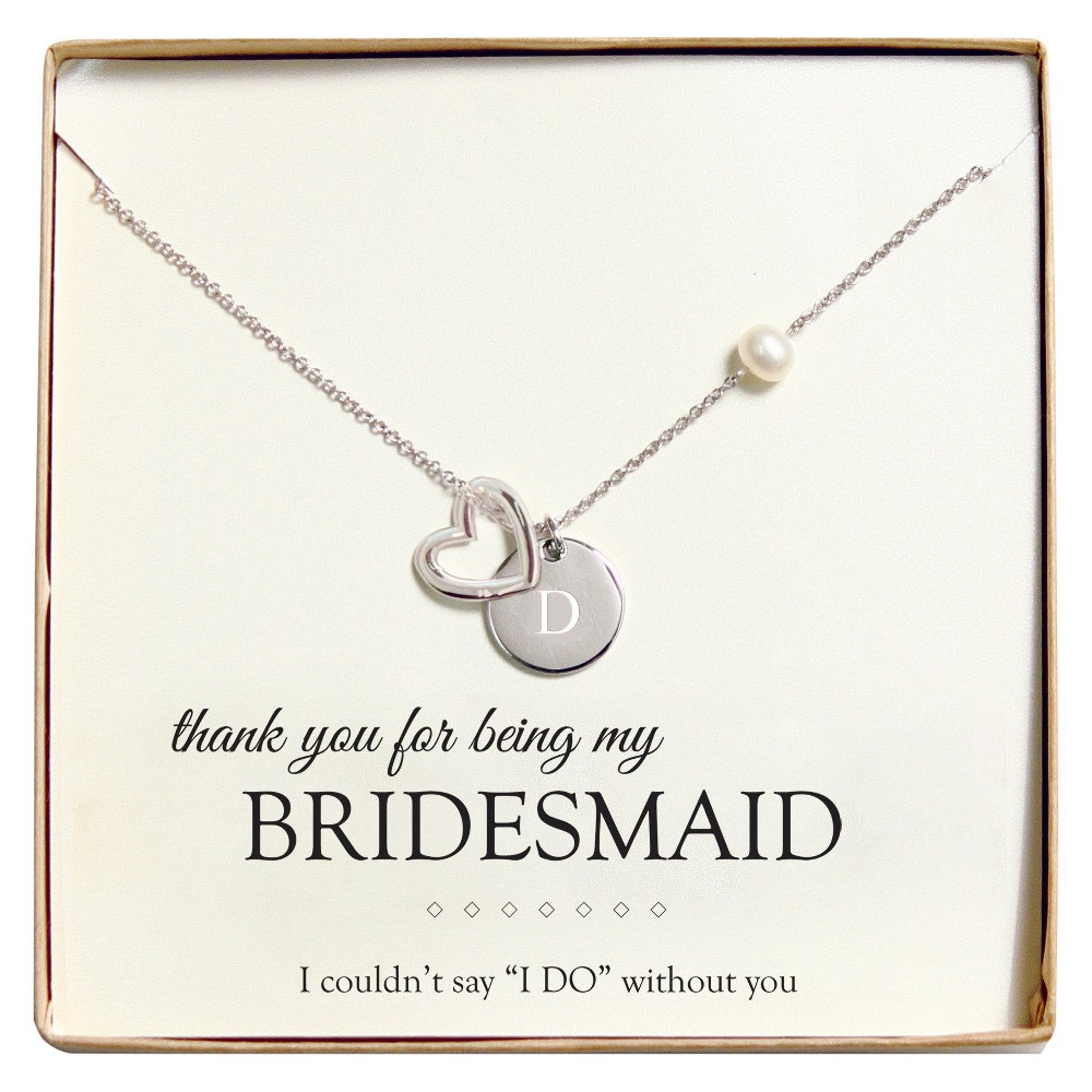 Monogram Bridesmaid Open Heart Charm Party Necklace - D, Womens, Silver