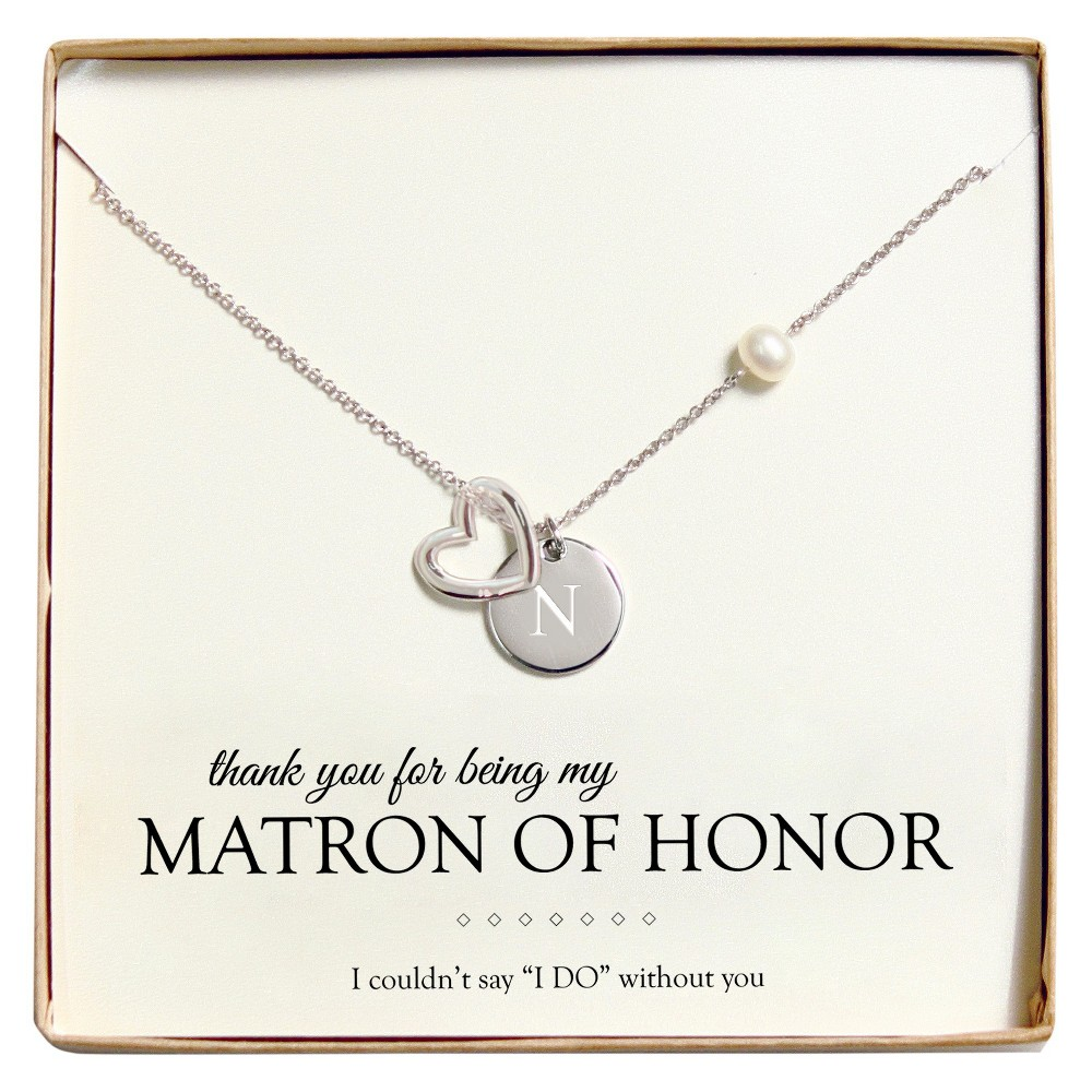 Monogram Matron of Honor Open Heart Charm Party Necklace - N, Womens, Silver
