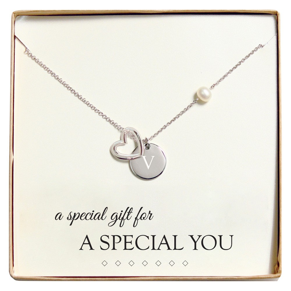 Monogram Special You Open Heart Charm Party Necklace - V, Womens, Silver