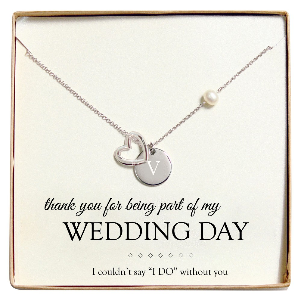 Monogram Wedding Day Open Heart Charm Party Necklace - V, Womens, Silver