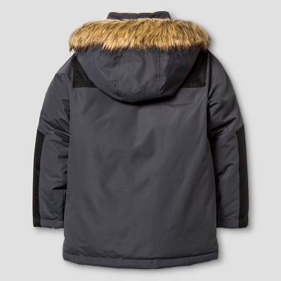 Boys' Rbx Parka Jacket with Detachable Hood Rich Charcoal M, Boy's