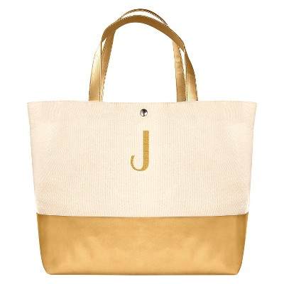 Women's Monogram Gold Metallic Color Dipped Tote Bag - J