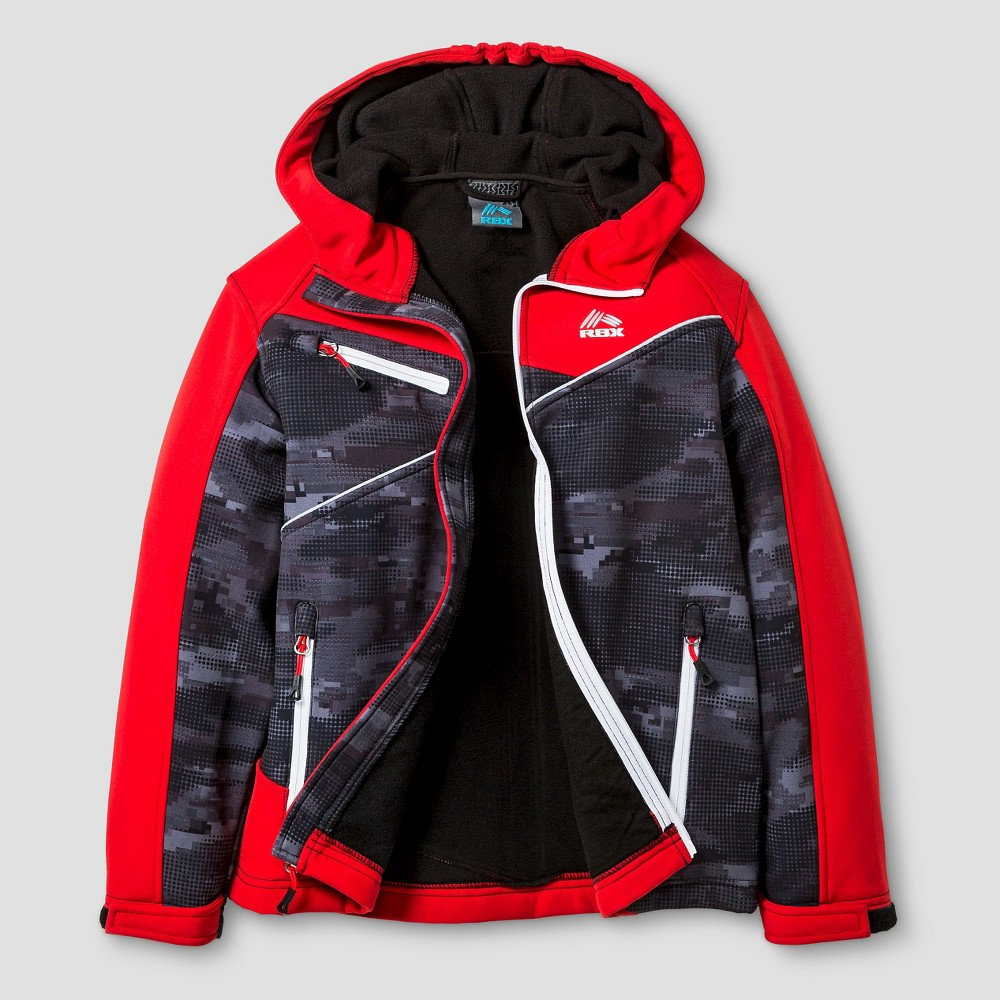 Rbx Boys Softshell Tech Jacket Camo Print XL - Black/Red
