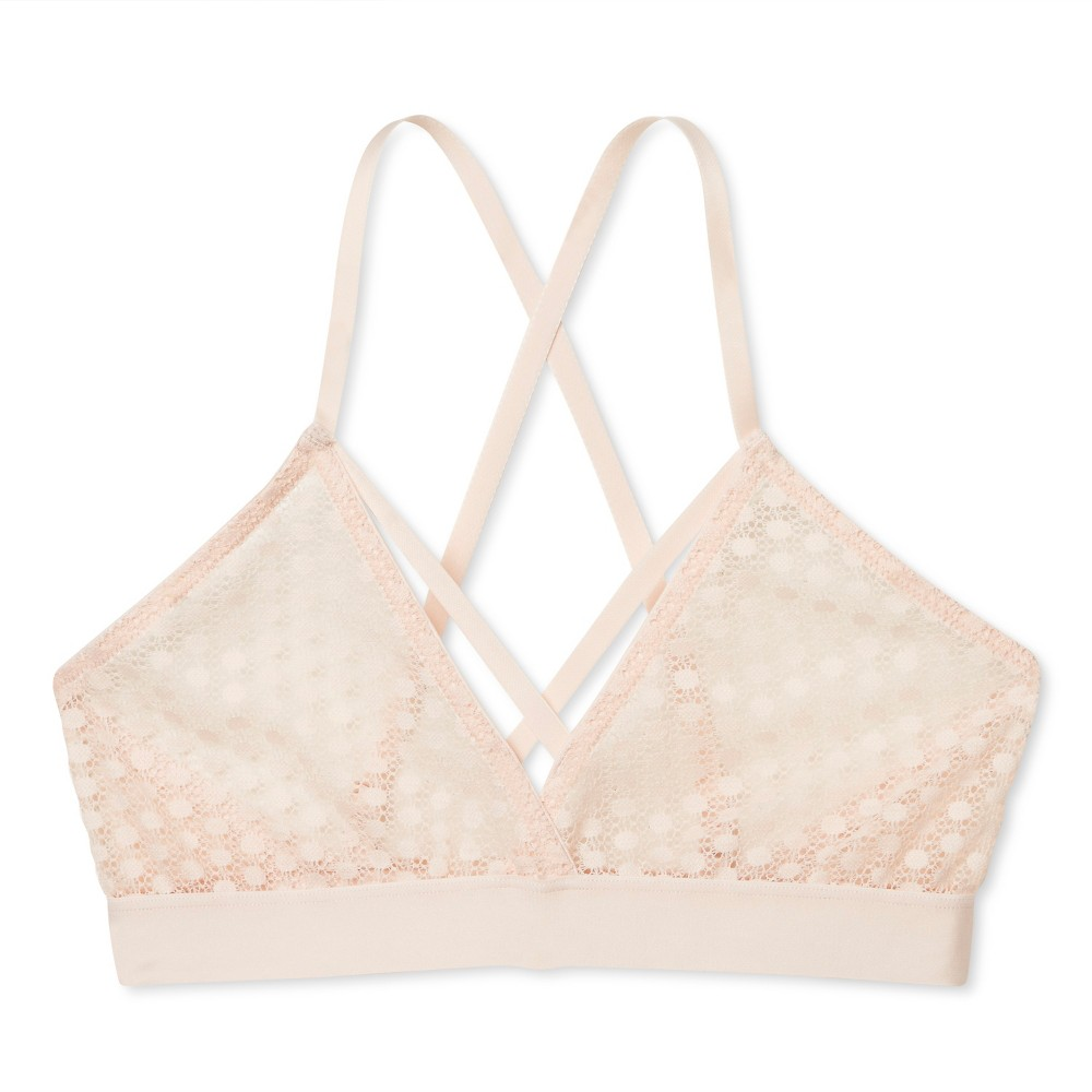 Sweet Treats Womens Strappy Circle Lace Bralette - Feather Peach S
