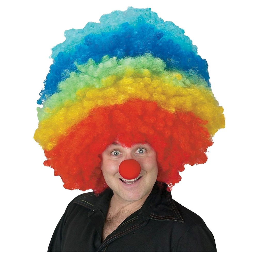 Clown Mega Costume Wig Rainbow, Adult Unisex, Multicolor Rainbow