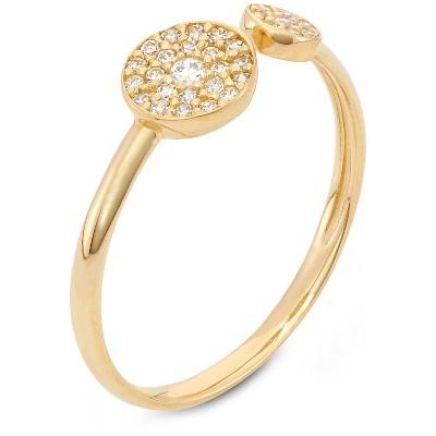 1/4 Tcw Tiara Double Round CZ Trend Ring in 10k Yellow Gold - (7), Women's