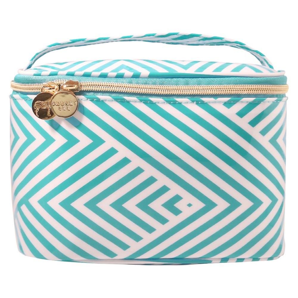 Dabney Lee Aqua Chevron Train Case Makeup Bag, Lite Blue