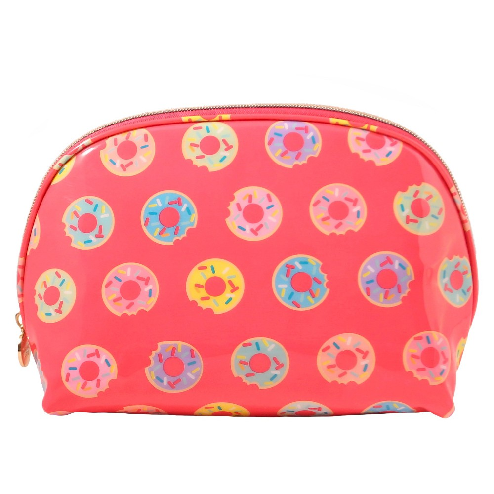 Dabney Lee Doughnuts Round Top Makeup Bag, Pink
