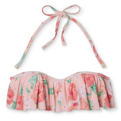 Women's Off the Shoulder Bandeau Bikini Top - Peach Floral - L - Xhilaration
