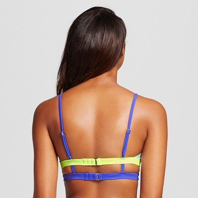 Women's Colorblock Push Up Faux Wrap Bikini Top - Multicolor - L - Xhilaration, Multi Color Block