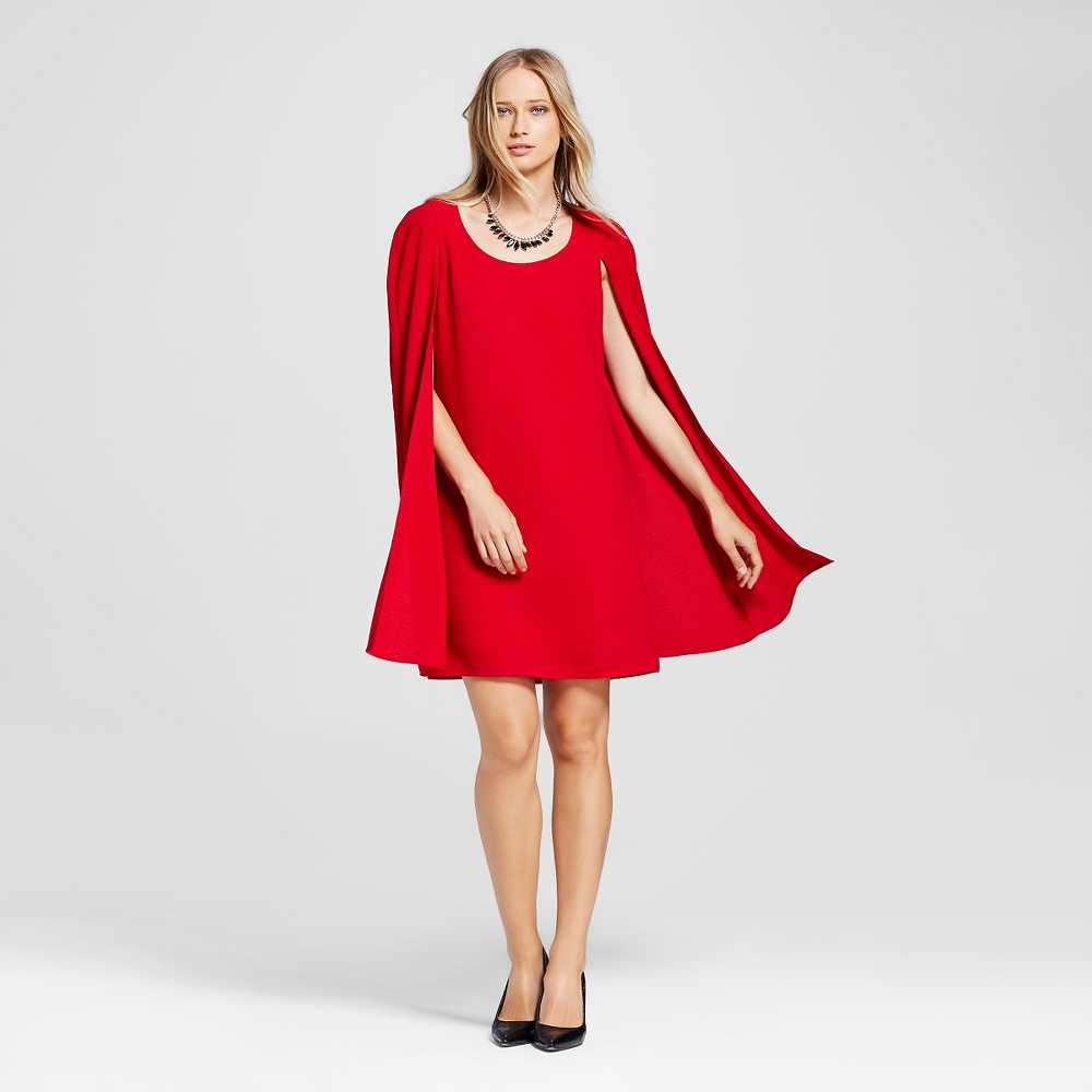 1960s – 70s Dresses- Retro Inspired Fashion Womens Cape Dress - Alison Andrews Red S $59.99 AT vintagedancer.com