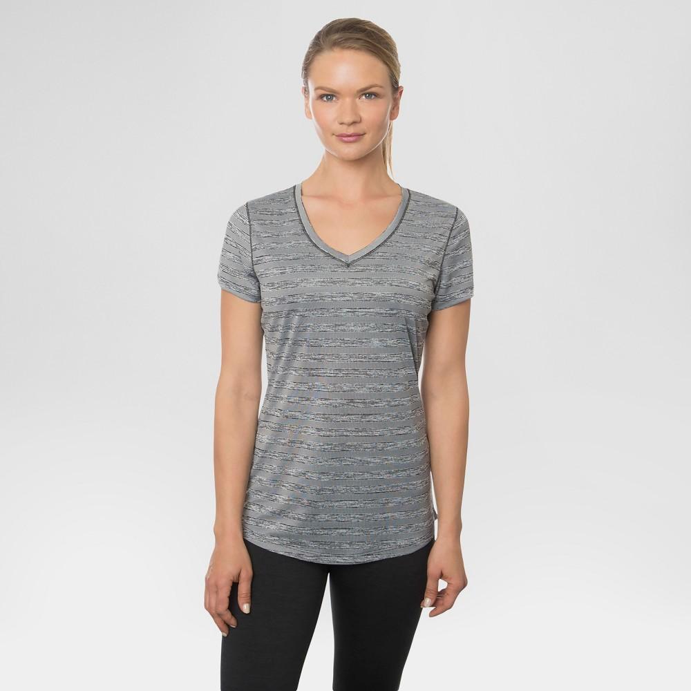 Women's Space Dye V-Neck T-Shirt Black Combo M - Rbx