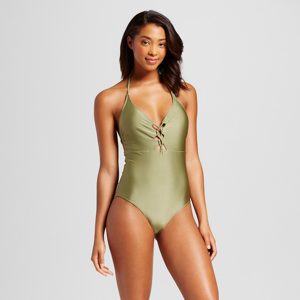 Women's Lace Up Halter One Piece - Olive Green - S - Fashion Union, Gray