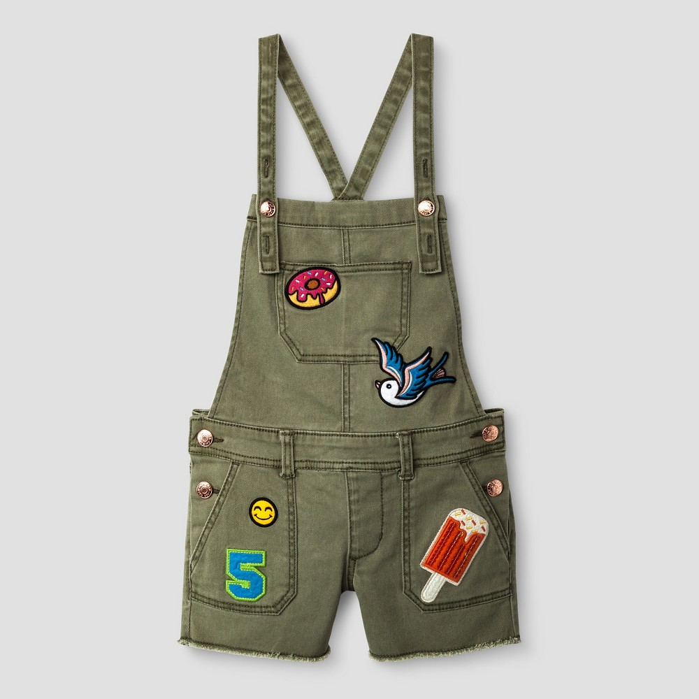 Girls Denim Shortall With Patches - Cat & Jack Olive M, Green