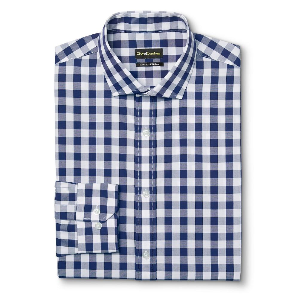 Men's Slim Fit Premium Cotton Non-Iron Gingham Dress Shirt Blue 16 / 32-33 – City of London