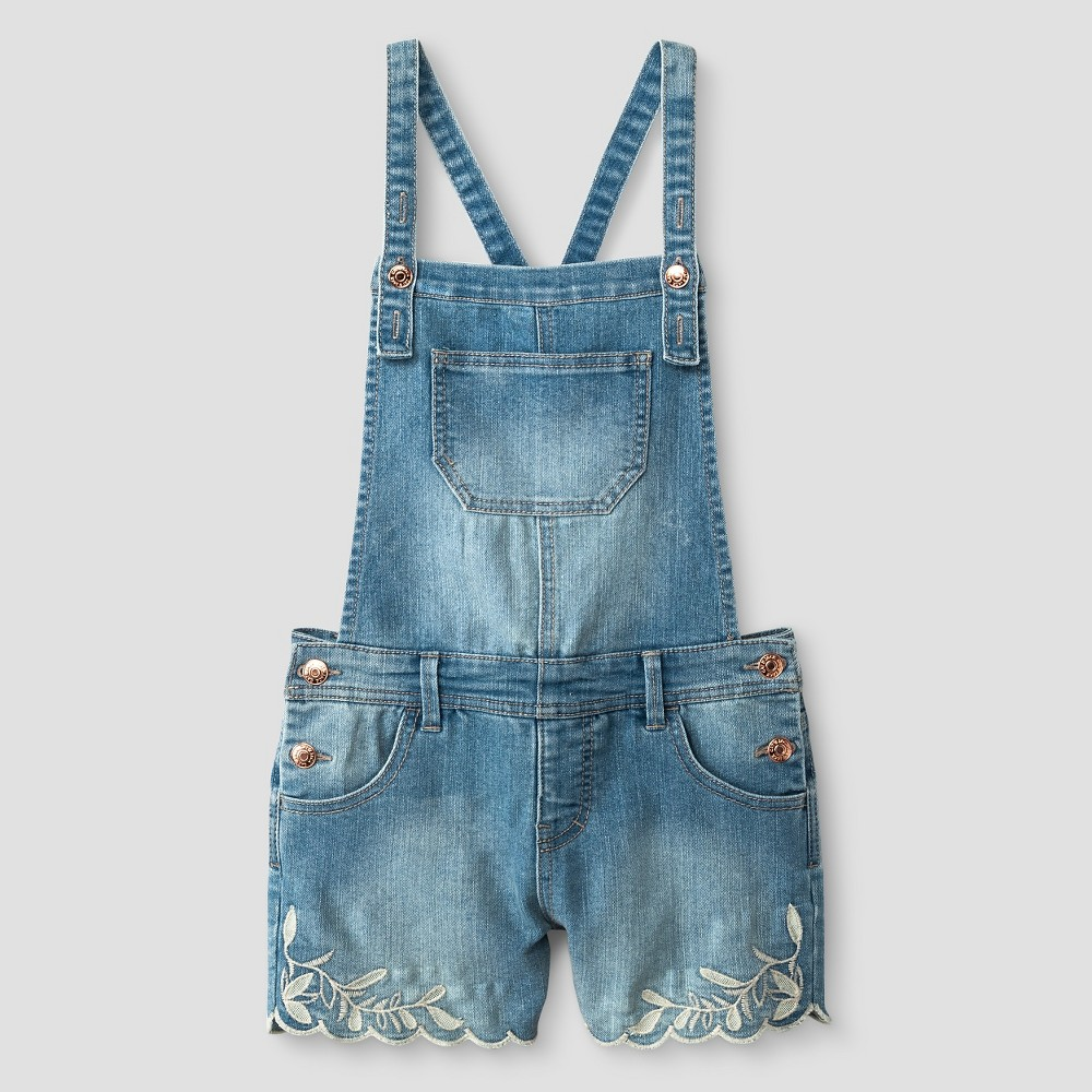Girls Denim Shortall With Embroidery - Cat & Jack Light Wash S, Blue