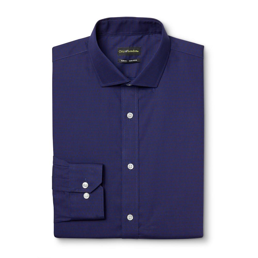 Men's Slim Fit Premium Cotton Non-Iron Pattern Dress Shirt Navy (Blue) 16.5 / 32-33 – City of London
