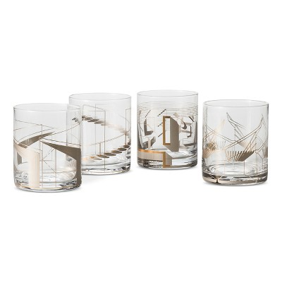 Metallic Cocktail Glasses 4 ct Clear/Copper - Modern by Dwell Magazine