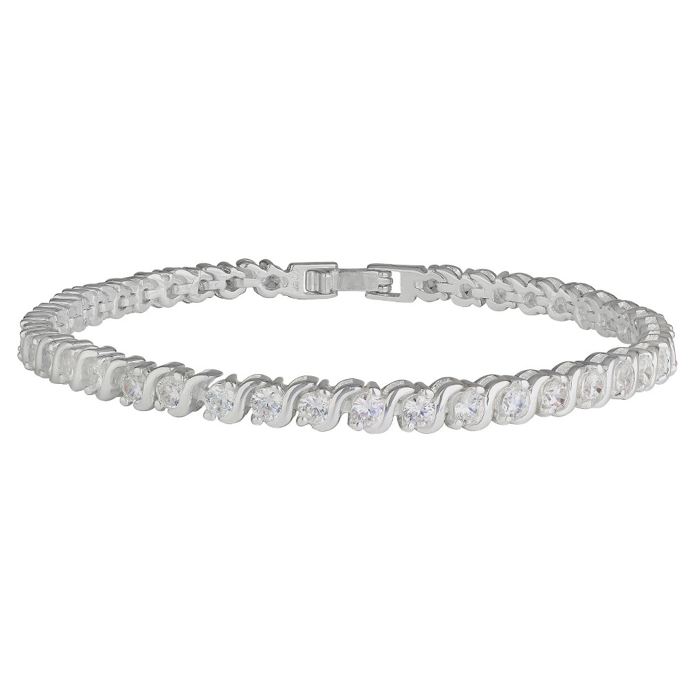 Womens Bracelet Silver Plated Tennis with Round Cubic Zirconia - Silver/Clear (7.5)