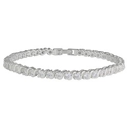 Women's Bracelet Silver Plated Tennis with Round Cubic Zirconia - Silver/Clear (7.5)