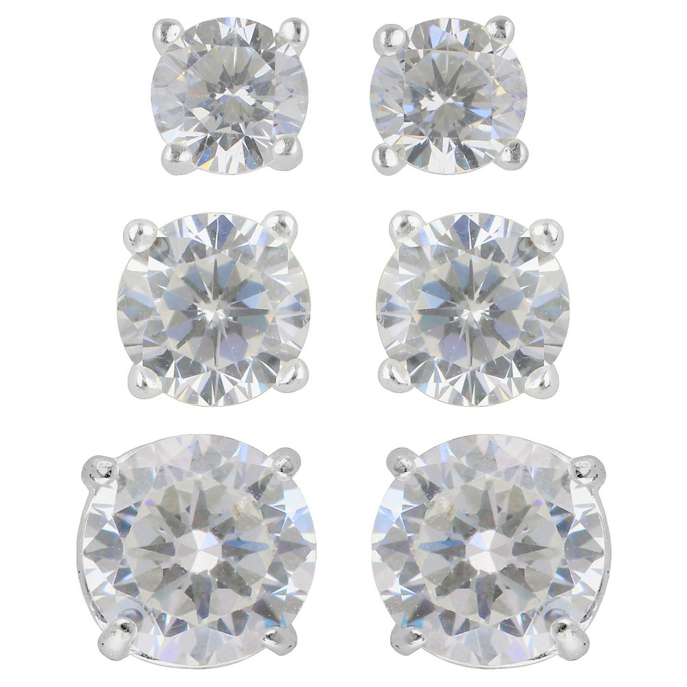Womens Earring Sterling Silver Stud 3 Pairs Assorted Size Round Cubic Zirconia - Silver/Clear