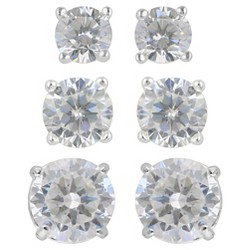 Women's Earring Sterling Silver Stud 3 Pairs Assorted Size Round Cubic Zirconia - Silver/Clear