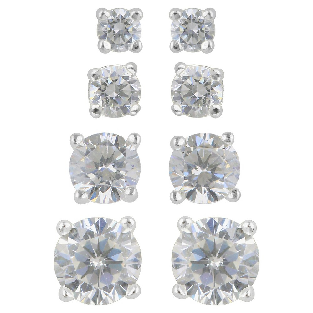 Womens Stud Earring Sterling Silver 4 Pairs of Round Assorted Size Cubic Zirconia - Silver/Clear