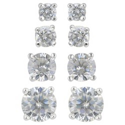 Women's Stud Earring Sterling Silver 4 Pairs of Round Assorted Size Cubic Zirconia - Silver/Clear