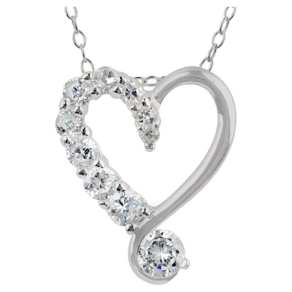 Womens Pendant Sterling Silver Heart with Cubic Zirconia - Silver/Clear (18)
