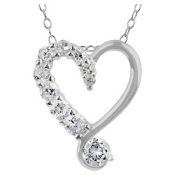 """Women's Pendant Sterling Silver Heart with Cubic Zirconia - Silver/Clear (18"""")"""