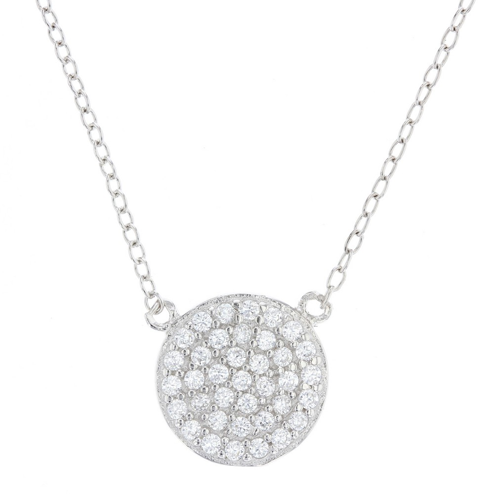 Womens Pendant Sterling Silver Pave Disc with Cubic Zirconia –Silver/Clear (18), Silver/Clear