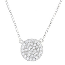 "Women's Pendant Sterling Silver Pave Disc with Cubic Zirconia –Silver/Clear (18"")"